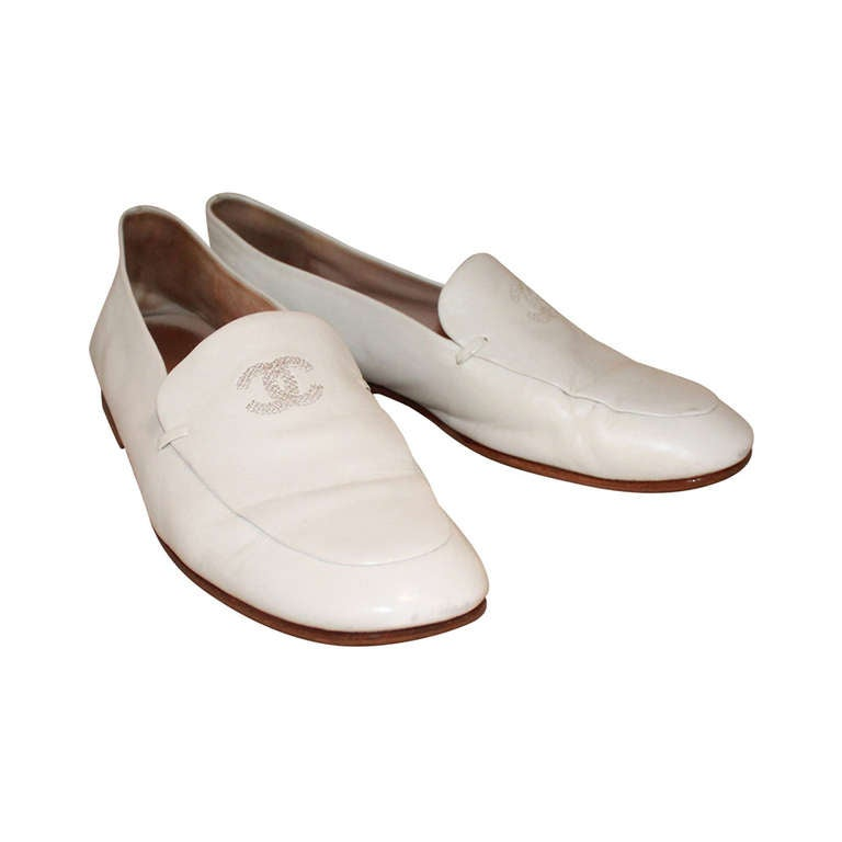 Chanel White Loafers - 36 At 1stdibs