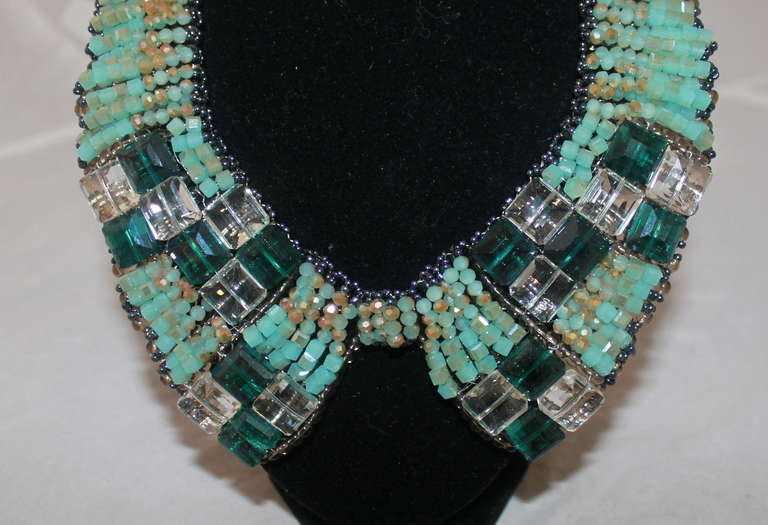 Barney's Teal Beaded Collar Necklace 2