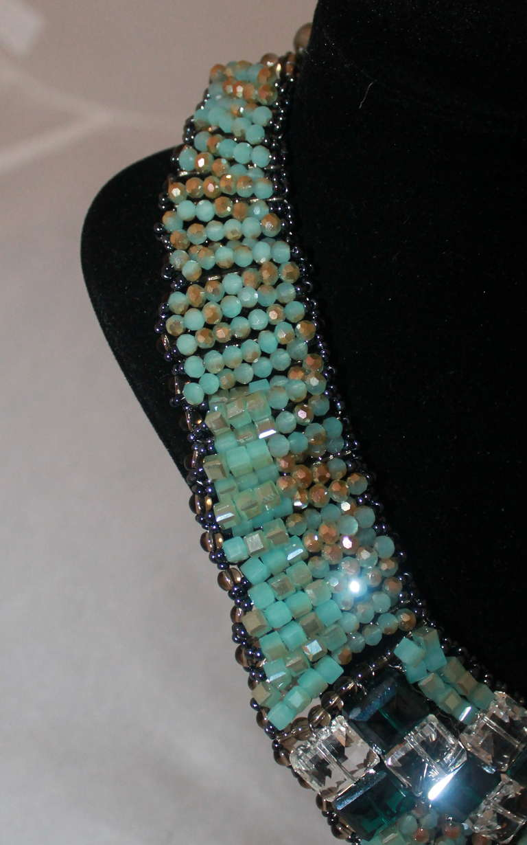 Barney's Teal Beaded Collar Necklace 4