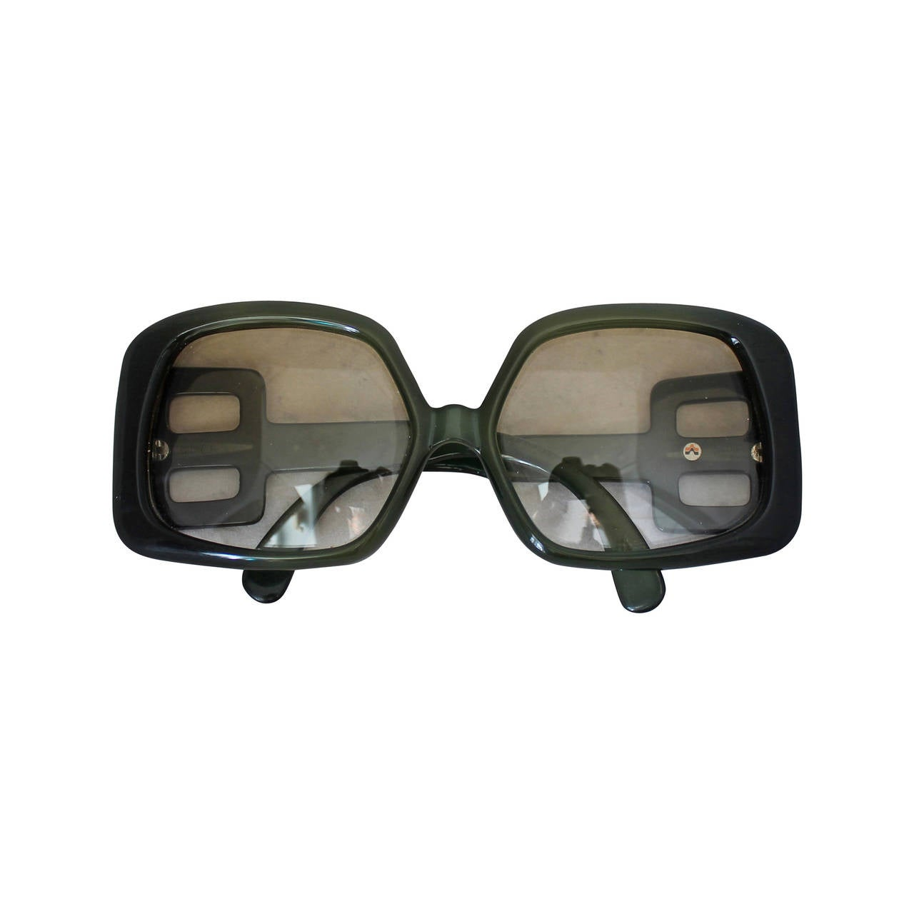Christian Dior 1970's Vintage Olive Square Sunglasses For Sale