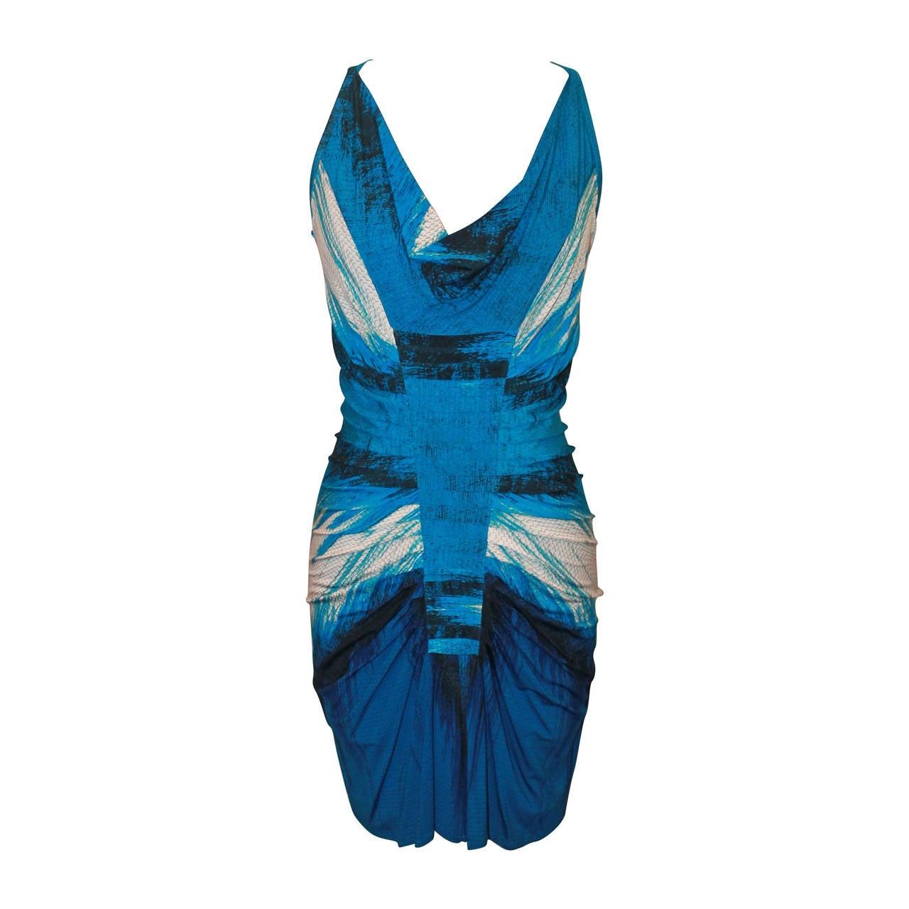 Roberto Cavalli Blue Ruched Sleeveless Short Dress - 4