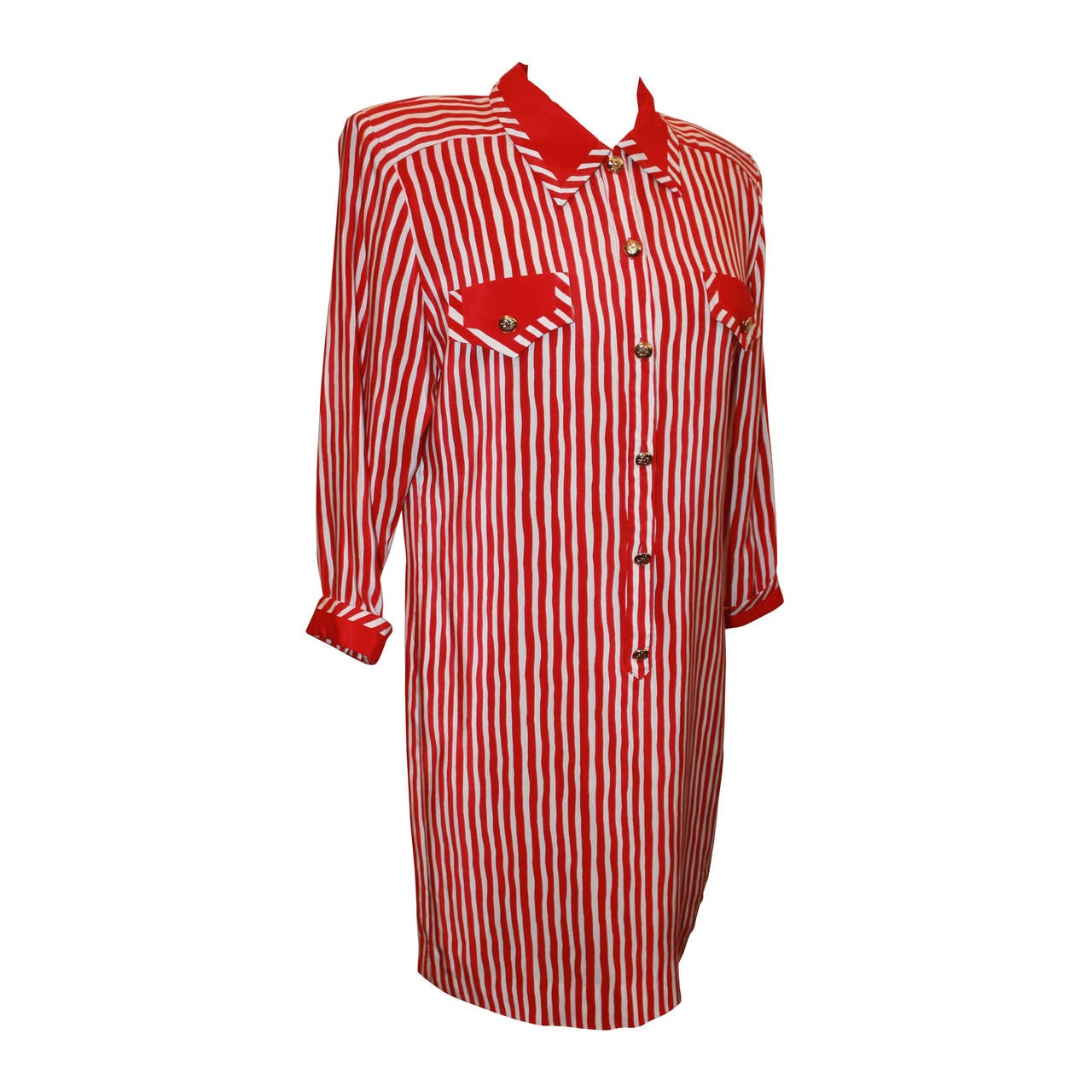 Vintage 1960s Adolfo Red and White Stripe Long Shirt Dress - M 1