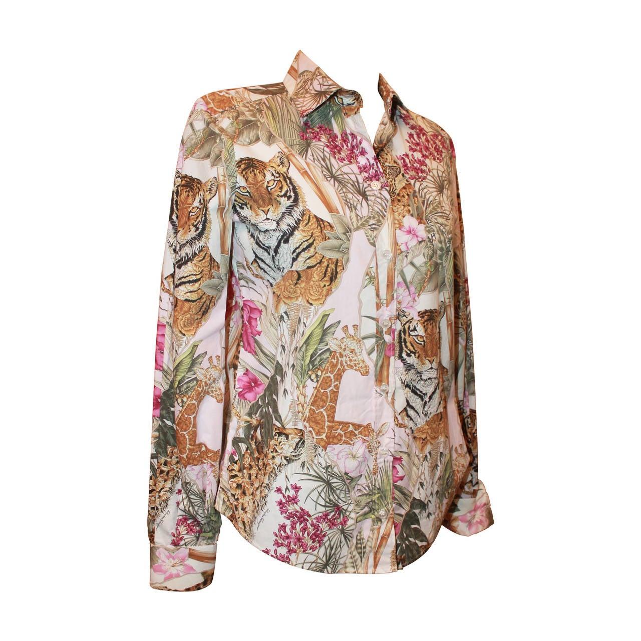 Salvatore Ferragamo Multi Color Jungle Print Long Sleeve Shirt - 40 1