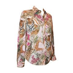 Salvatore Ferragamo Multi Color Jungle Print Long Sleeve Shirt - 40
