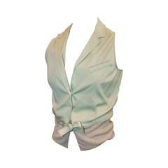 Brunello Cucinelli Pastel Green & Beige Linen Blouse - S