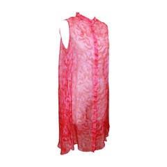 Alexander McQueen Fuschia Silk Chiffon Long Top - M