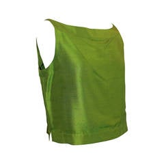 Oscar de la Renta Green Silk Sleeveless Top - 8 - Circa 90's