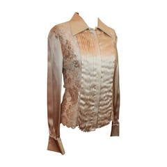 Valentino Beige Silk and Lace Long Sleeve Shirt