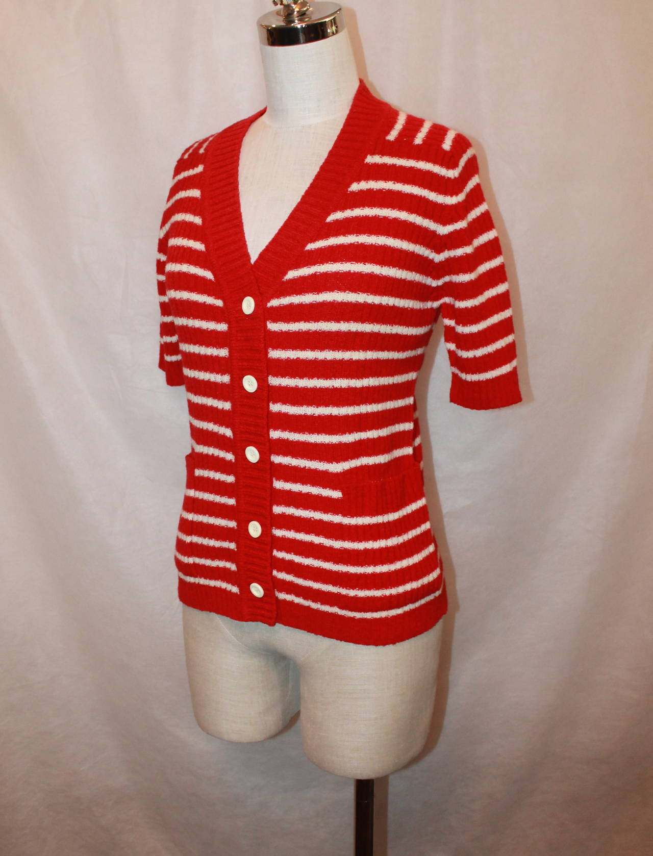 Lanvin 1970's Red & White Striped Wool Blend Short Sleeve Cardigan - 42 2