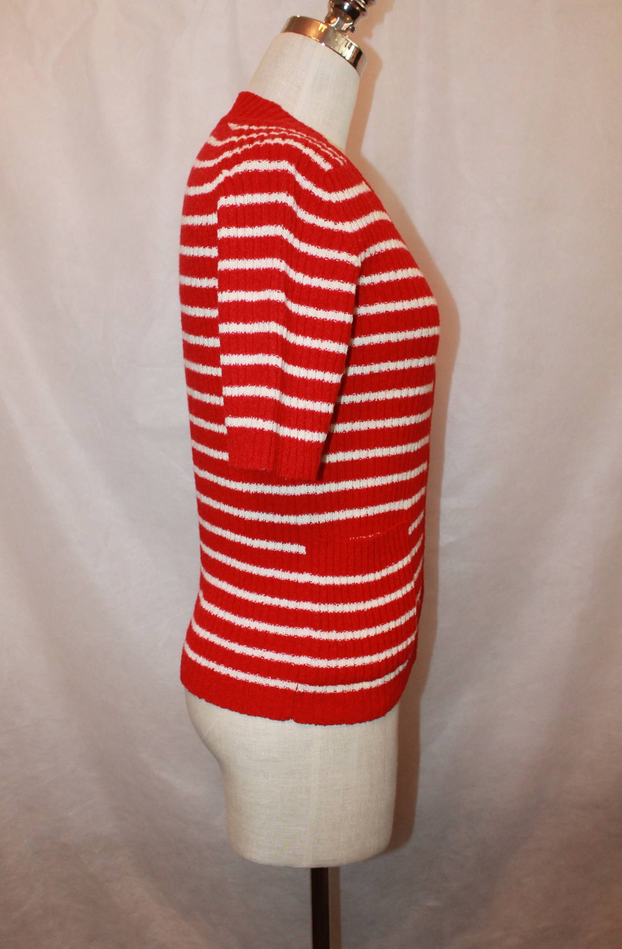 Lanvin 1970's Red & White Striped Wool Blend Short Sleeve Cardigan - 42 3