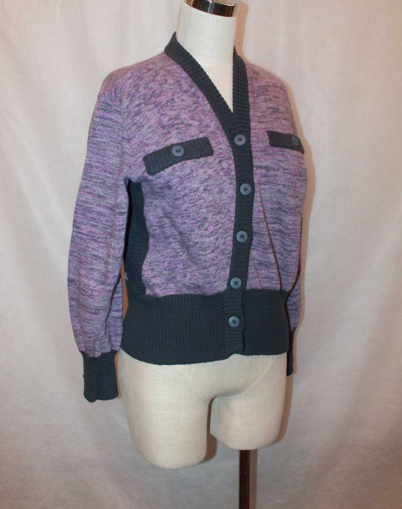 5af9439f96 YSL 1960 s Vintage Lavender   Charcoal Grey Cardigan - 38. This sweater is  in very
