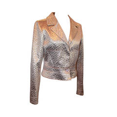 Valentino 1990's Vintage Rose Gold Pink Silk Brocade Jacket - 8