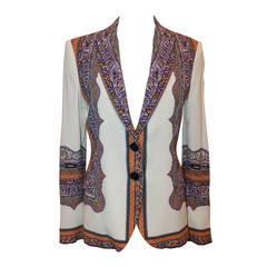 Etro White & Multi Color Printed Silk Jacket - 44