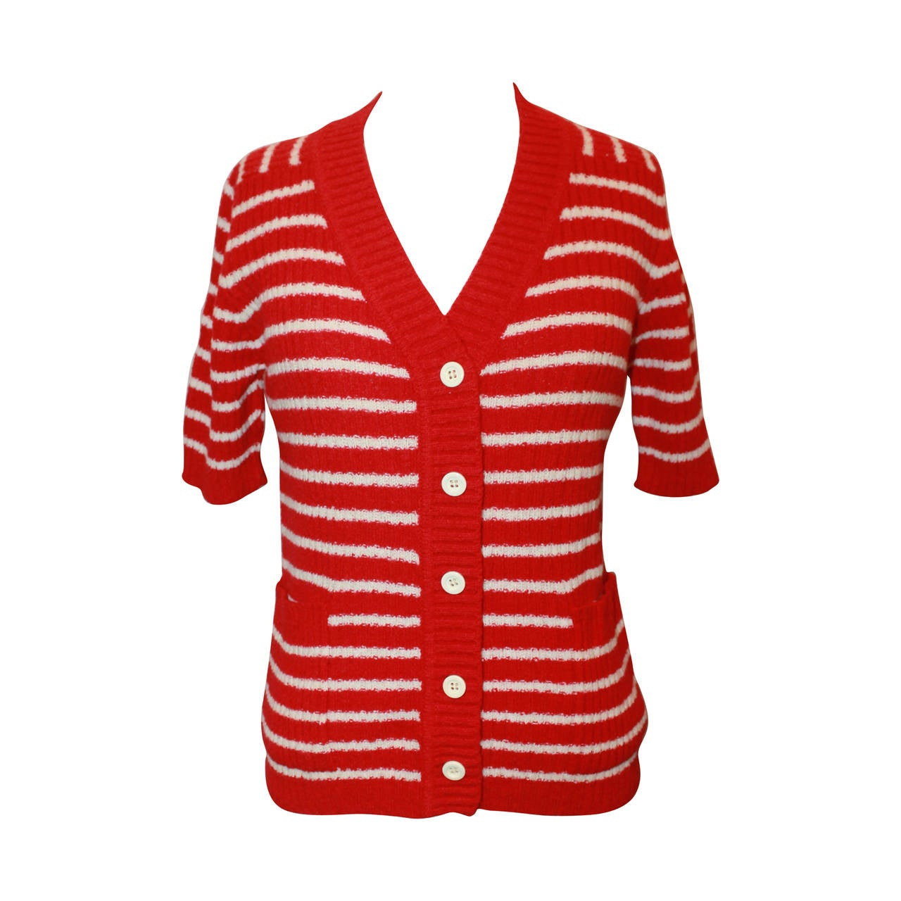 Lanvin 1970's Red & White Striped Wool Blend Short Sleeve Cardigan - 42 1