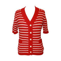 Lanvin 1970's Red & White Striped Wool Blend Short Sleeve Cardigan - 42