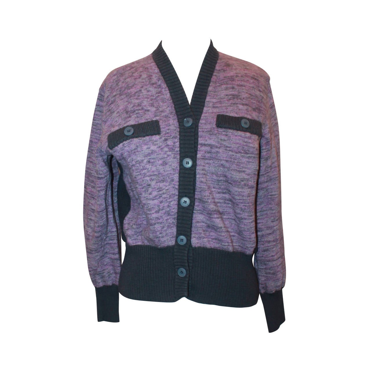 c6f0e99d44 YSL 1960 s Vintage Lavender and Charcoal Grey Cardigan - 38 For Sale ...