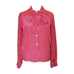 YSL 1960's Vintage Fuchsia & White Striped Long Sleeve Blouse - 38