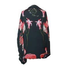 Alexander McQueen Black Silk Chiffon Floral Printed Kimono - 10