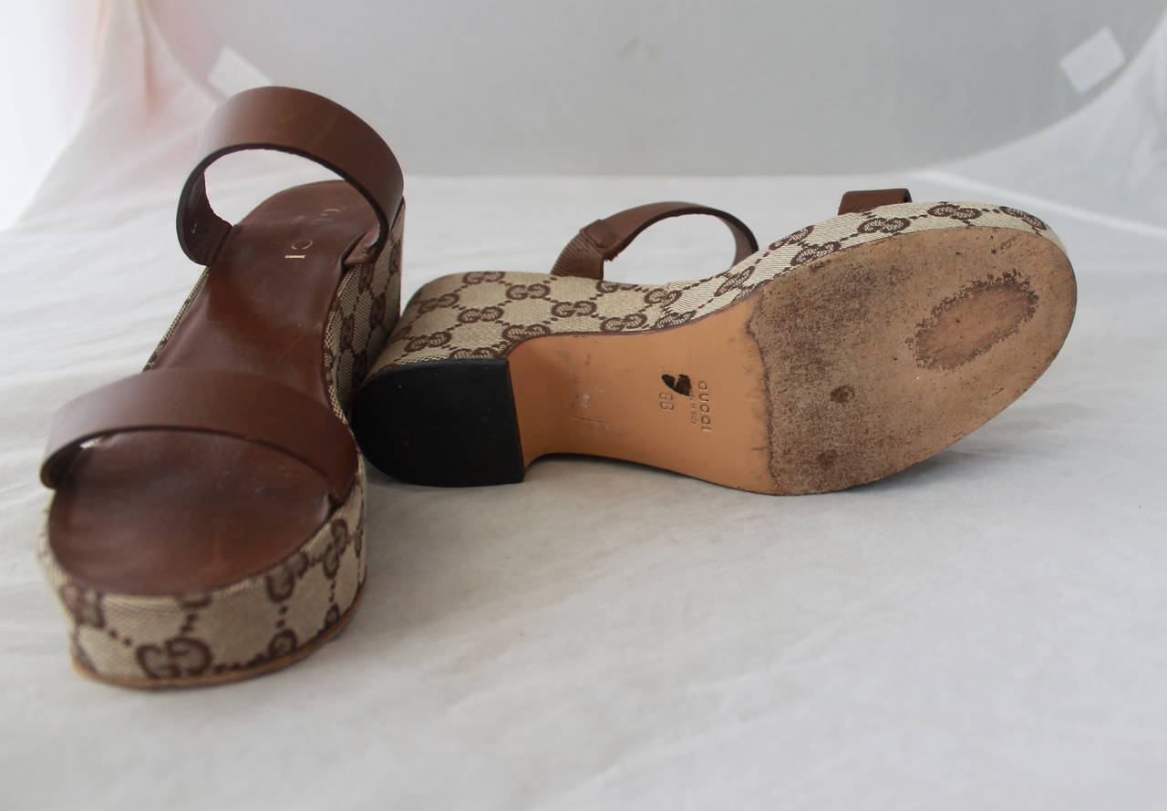 Women's Gucci Brown Monogram Wedge Sandal - 6 For Sale