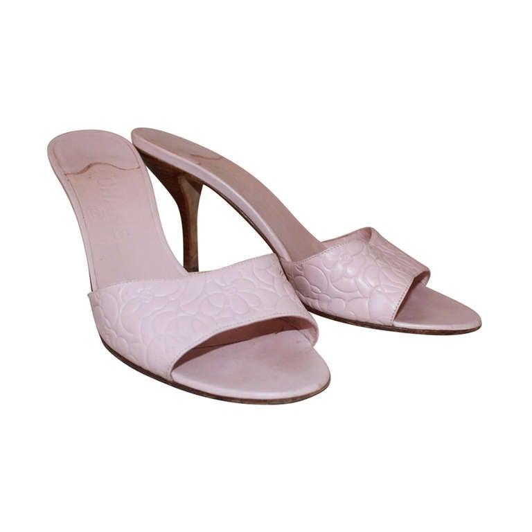 Chanel Pink Monochromatic Slide Heel 38 At 1stdibs