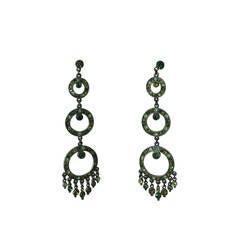Ben Amun Green Multi-Tone Rhinestone Chandelier Earrings