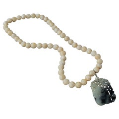 2000's Mother of Pearl Necklace with Carved White Jade Pendant