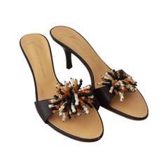 Giuseppe Zanotti Brown Leather Slides with Fringing Bead Cluster - 37.5