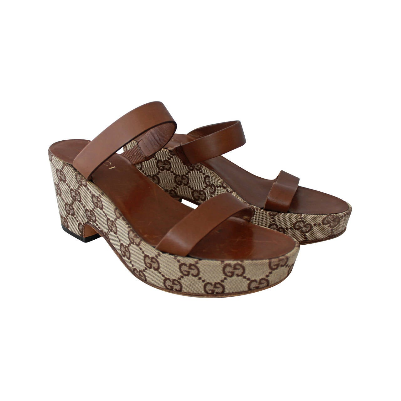 Gucci Brown Monogram Wedge Sandal - 6 For Sale