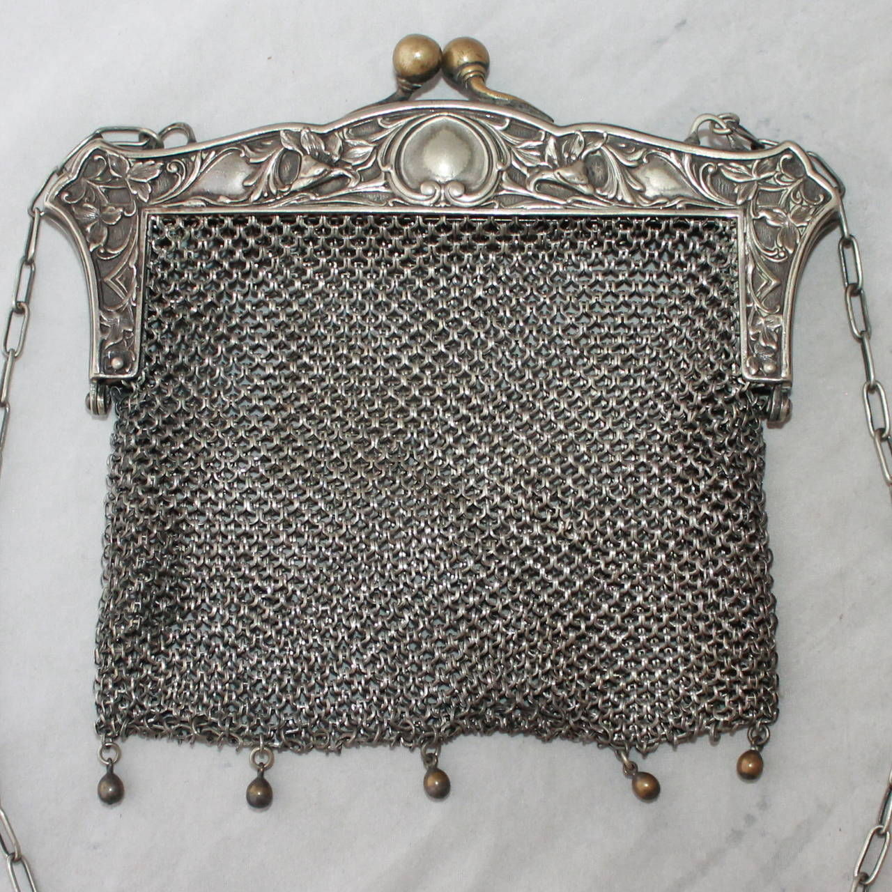 Edwardian Antique JWR Co. German Silver Chainmail Bag 2