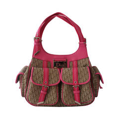 "Christian Dior ""Fun Diorissimo"" Brown Monogram & Pink Trim Tote"