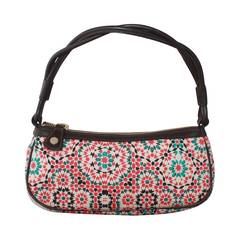 Jimmy Choo Multi-Color Geometric Print Pouchette with Leather Handle