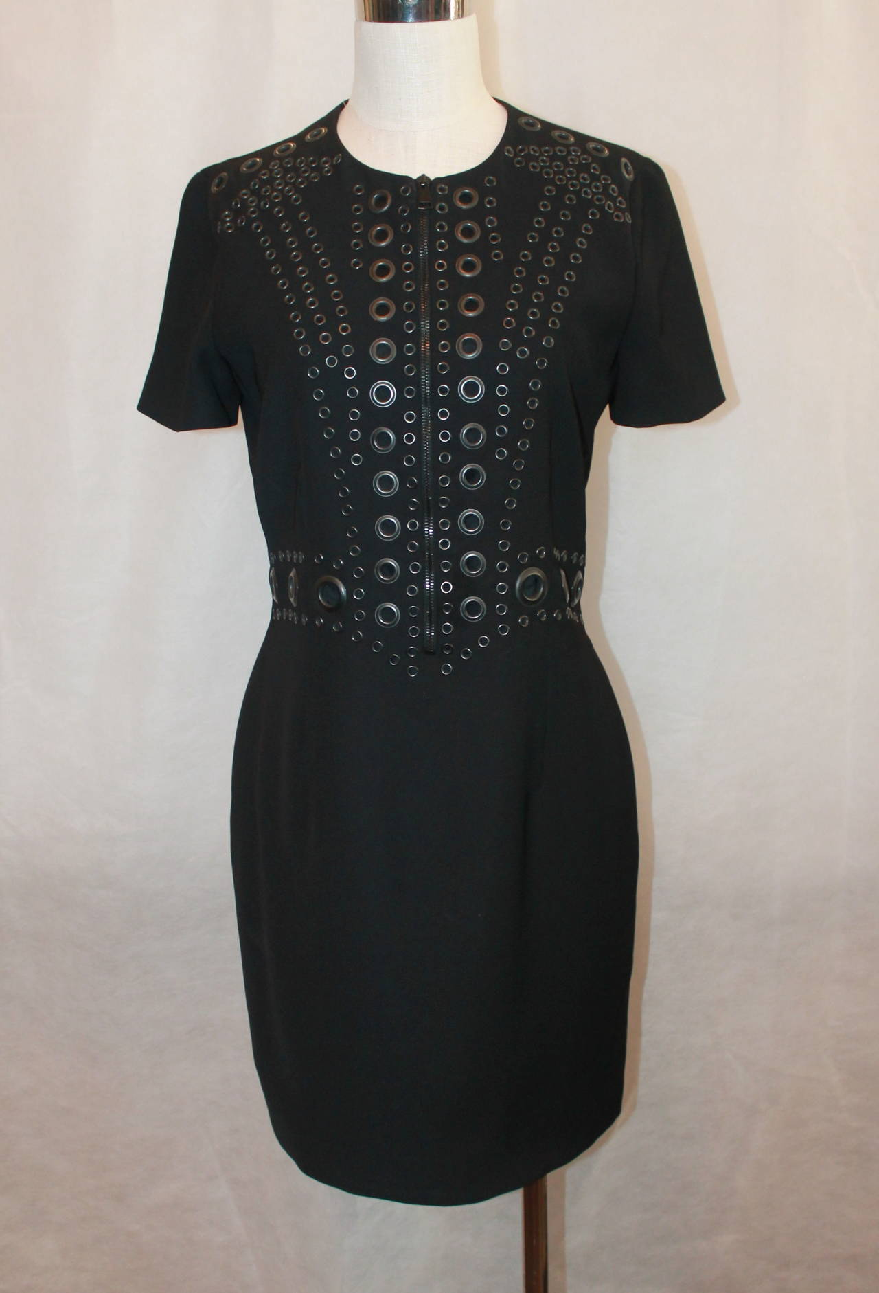Givenchy Black Tapered Metal Eyelet Dress - 44 For Sale at 1stdibs