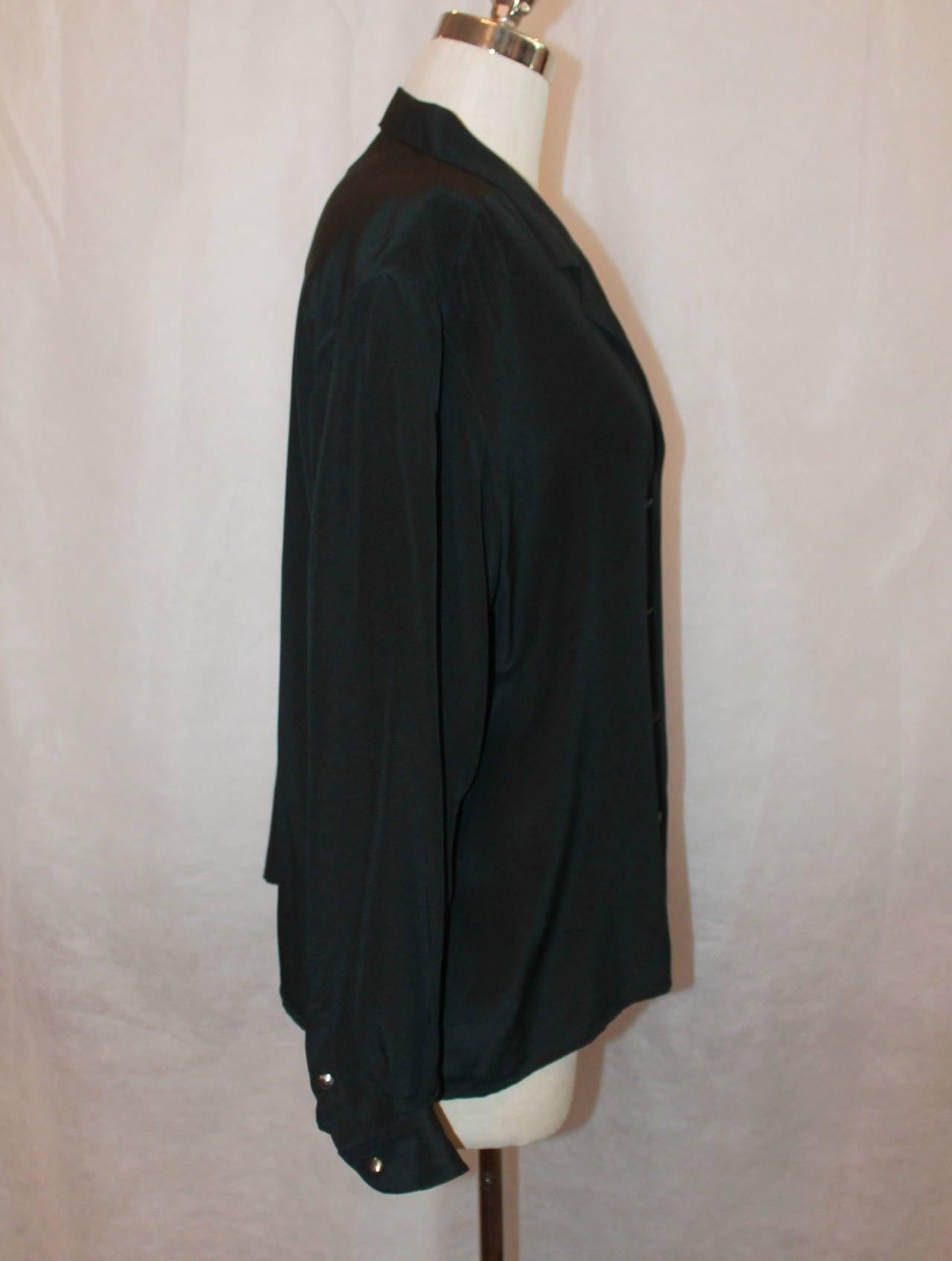 Women's Chanel 1980's Vintage Black Silk Chiffon Long Sleeve Blouse - M For Sale