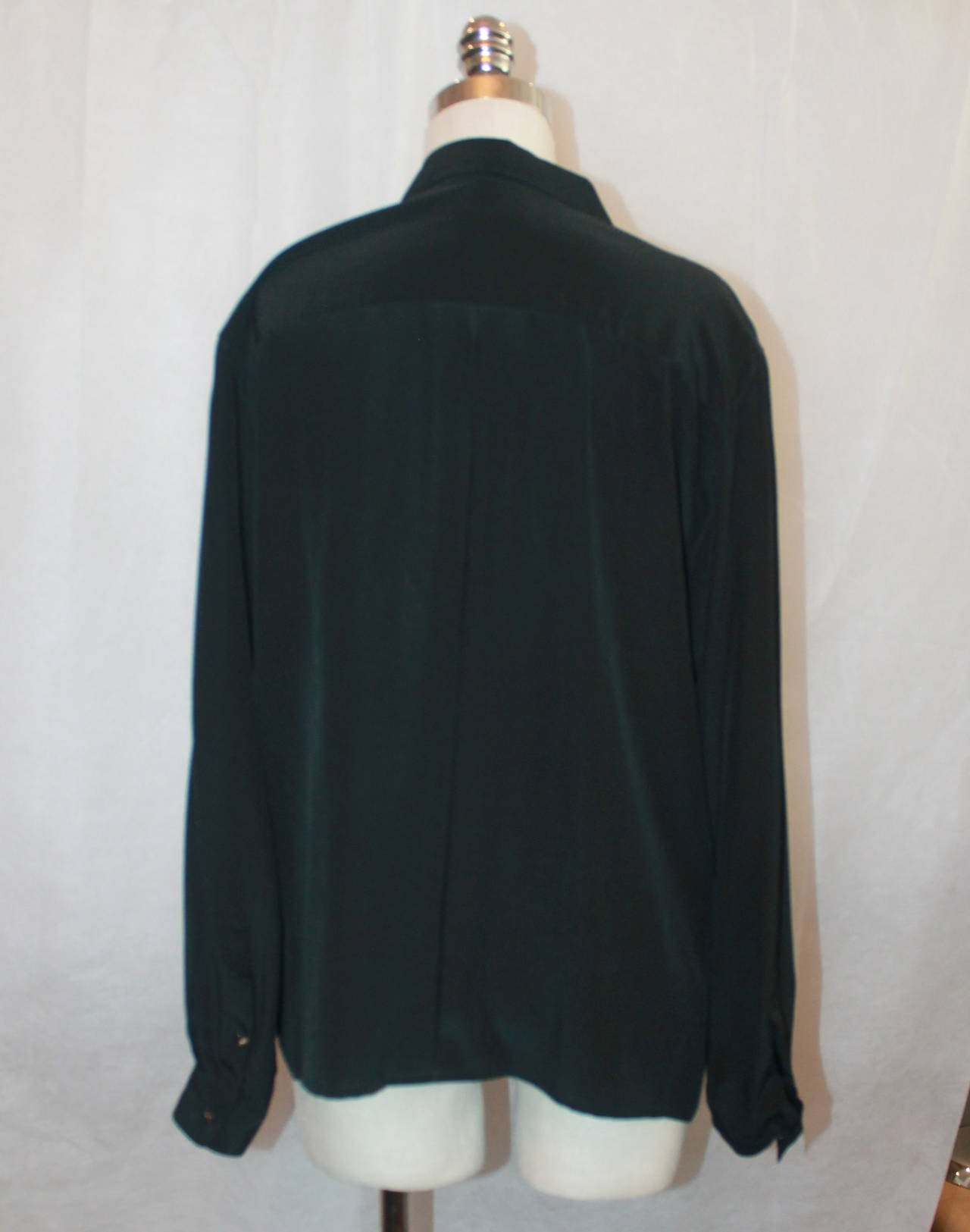Chanel 1980's Vintage Black Silk Chiffon Long Sleeve Blouse - M For Sale 1