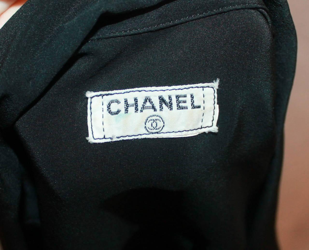 Chanel 1980's Vintage Black Silk Chiffon Long Sleeve Blouse - M For Sale 2