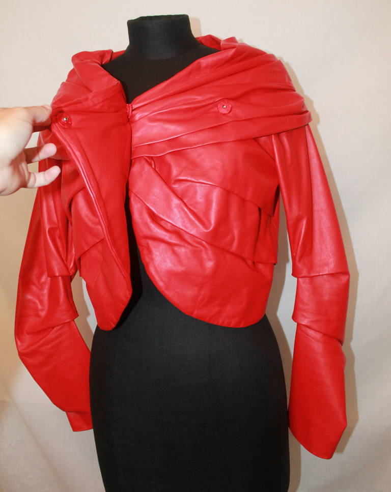 Emanuel Ungaro Red Leather Ruched Jacket with Rose - S For Sale 1