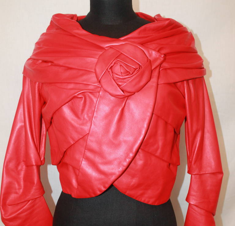 Women's Emanuel Ungaro Red Leather Ruched Jacket with Rose - S For Sale