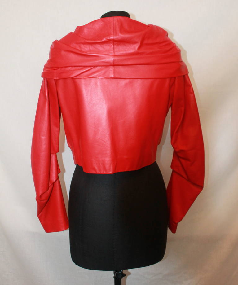 Emanuel Ungaro Red Leather Ruched Jacket with Rose - S In Excellent Condition For Sale In Palm Beach, FL