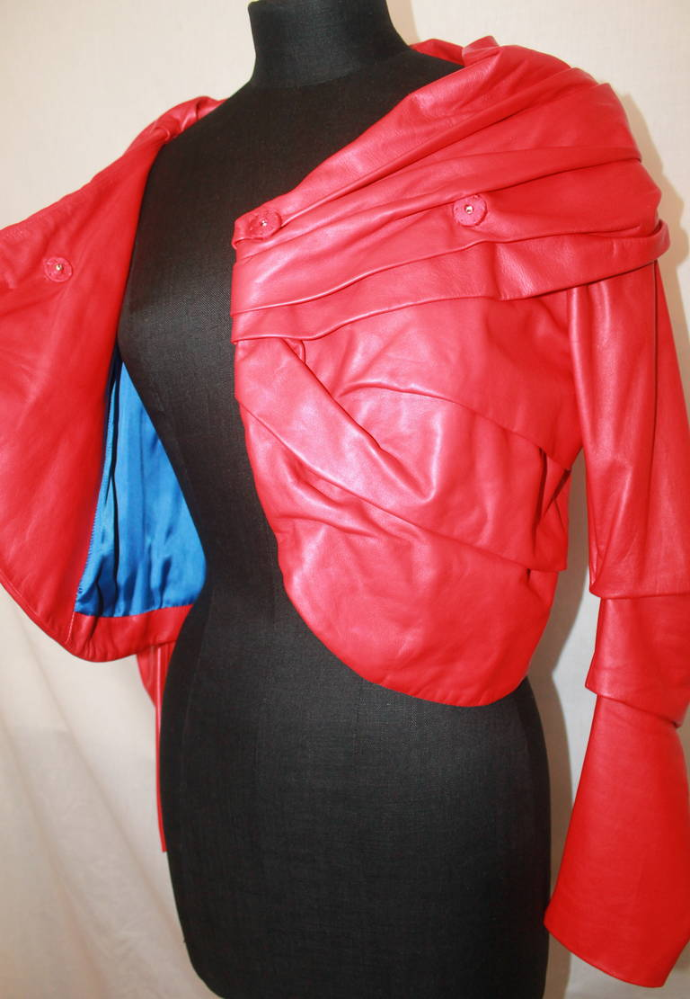 Emanuel Ungaro Red Leather Ruched Jacket with Rose - S For Sale 2