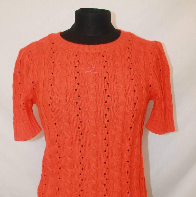 Courreges Vintage Orange Crewneck Top - M In Excellent Condition For Sale In Palm Beach, FL