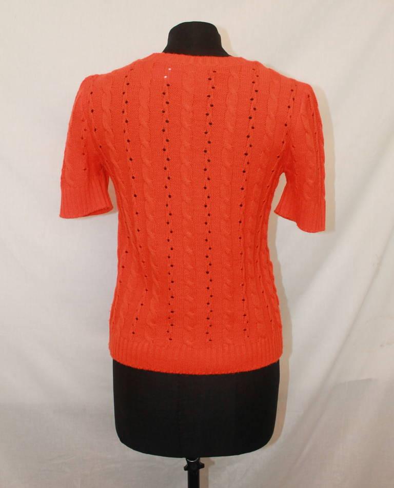 Red Courreges Vintage Orange Crewneck Top - M For Sale