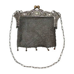 Edwardian Antique JWR Co. German Silver Chainmail Bag