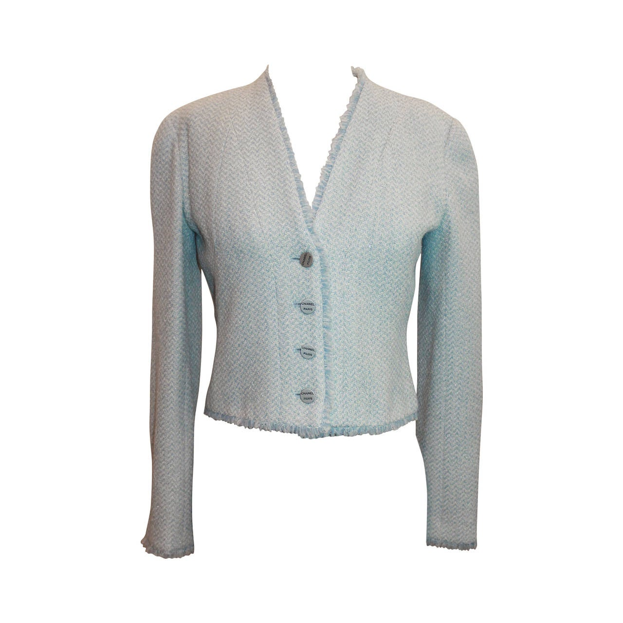 Chanel 2000 Baby Blue And White Tweed Crop Jacket With