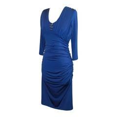 Roberto Cavalli Royal Blue Jersey Ruching 3/4 Sleeve Dress - S - NWT