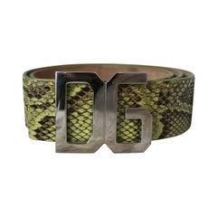 "Dolce & Gabbana Green Snake Belt with ""DG"" Logo Buckle - 32"