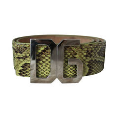 "Dolce & Gabbana Green Snake Belt with ""DG"" Logo Buckle - 32"