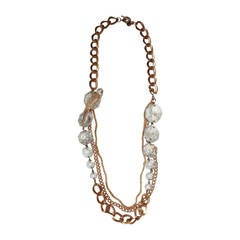 Madame Mathilde Gold Chain & Large Rhinestone Drop Necklace with Bird