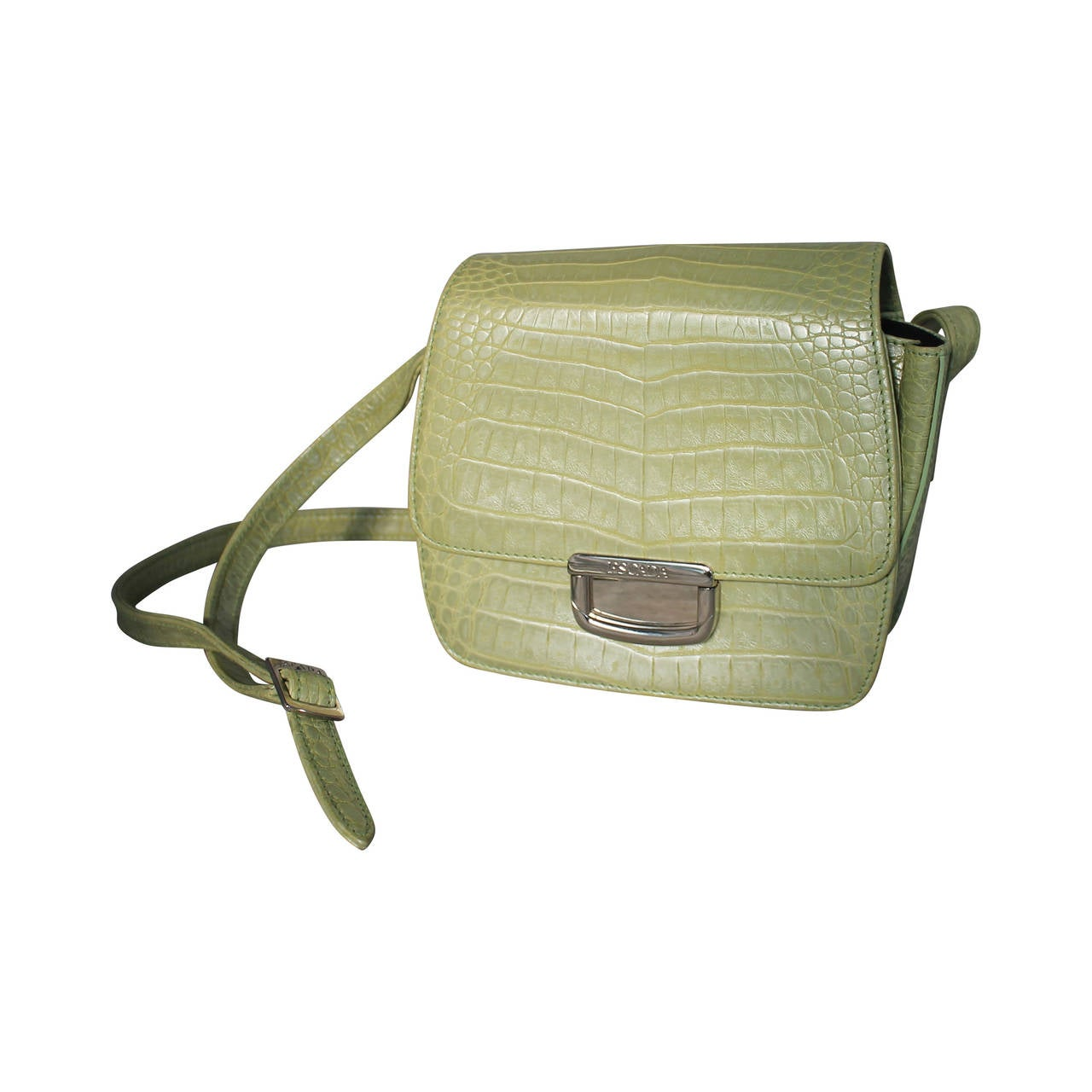 Escada Pearlized Green Croc Embossed Leather Handbag