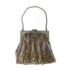 Art Deco Vintage Whiting & Davis Gold & Silver Mesh Bag with Rhinestones