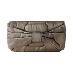 Valentino Taupe Silk Bow Clutch and Wristlet